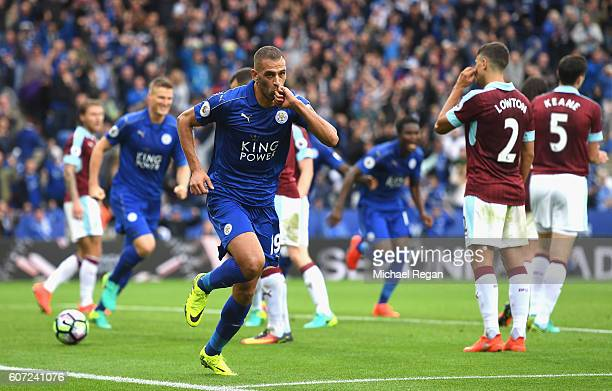 Islam Slimani of LeicesterCity celebrates scoring his sides first goal during the Premier League match between Leicester City and Burnley at The King...