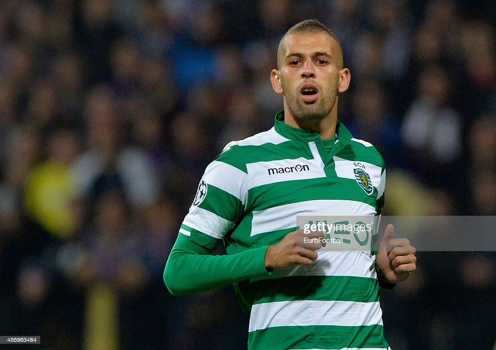 <a gi-track='captionPersonalityLinkClicked' href=/galleries/search?phrase=Islam+Slimani&family=editorial&specificpeople=9704639 ng-click='$event.stopPropagation()'>Islam Slimani</a> of Sporting Clube de Portugal in action during the UEFA Group G Champions League football match between NK Maribor and Sporting Lisbon at the Ljudski vrt Stadium on September 17, 2014 in Maribor, Slovenia.