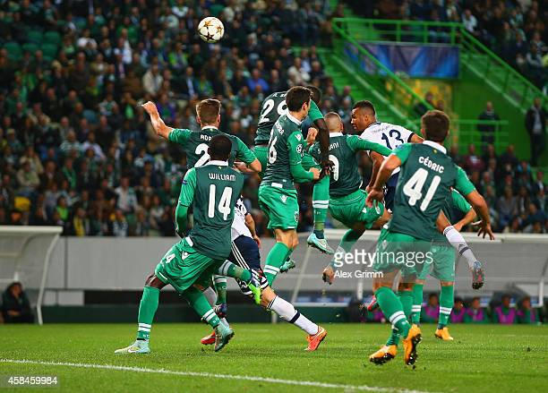 Islam Slimani of Sporting Lisbon scores an own goal off the header from Maxim ChoupoMoting of Schalke during the UEFA Champions League Group G match...