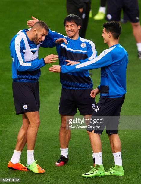 Islam Slimani Shinji Okazaki and Bartosz Kapustka of Leicester City during their Training Session prior to their Champions League Round of 16 1st Leg...
