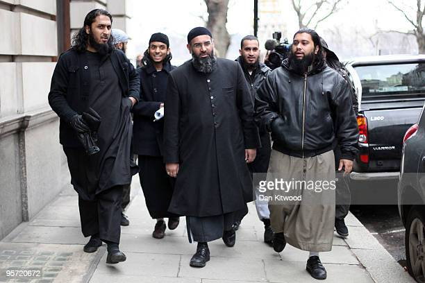 Islam4UK Spokesman Anjem Choudary leaves a press conference in Millbank Studios on January 12 2010 in London England The radical Islamic group had...