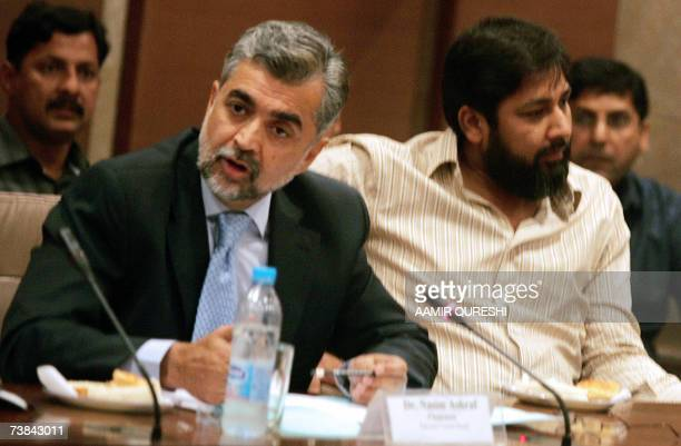 Chairman Pakistan Cricket Board Nasim Ashraf gestures as he appears before the National Assembly Standing Committee on Sports as cricket team captain...
