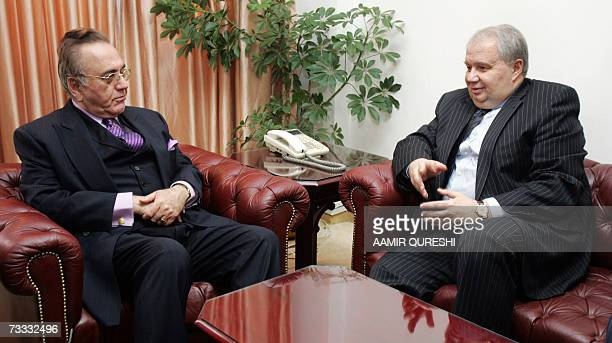 Pakistani Foreign Minister Khurshid Kasuri listens to Russian Deputy Foreign Minister Sergey Kislyak during a meeting in Islamabad 15 February 2007...