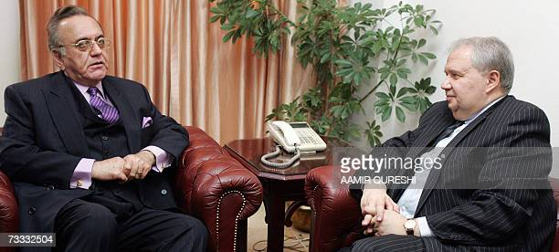 Pakistani Foreign Minister Khurshid Kasuri talks with Russian Deputy Foreign Minister Sergey Kislyak during a meeting in Islamabad 15 February 2007...