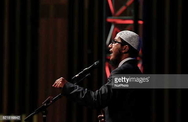 Islamic preacher Fariq Naik son of infamous preacher Dr Zakir Naik deliver his speaks during public talk at University Science of Malaysia George...