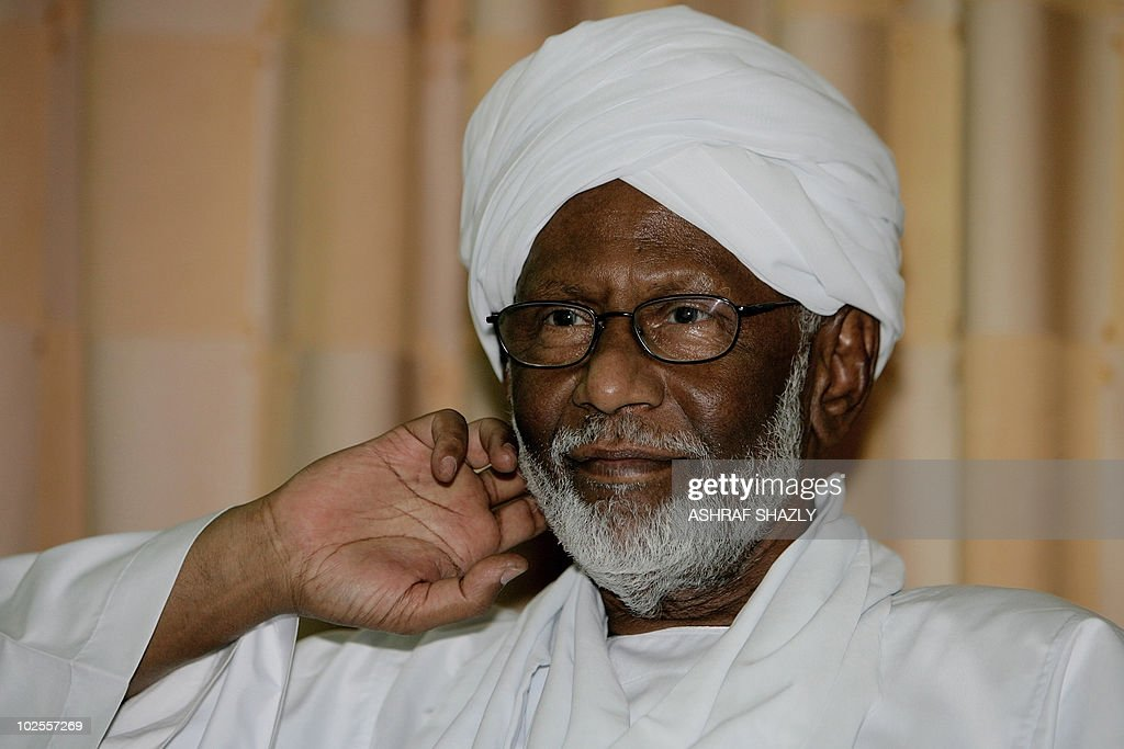 Islamist Sudanese opposition leader <a gi-track='captionPersonalityLinkClicked' href=/galleries/search?phrase=Hassan+al-Turabi&family=editorial&specificpeople=590997 ng-click='$event.stopPropagation()'>Hassan al-Turabi</a>, 78, is pictured following his release from jail late on June 30, 2010 at his home in Khartoum, where he told reporters he was arrested 'without cause' in a crackdown by authorities in May.