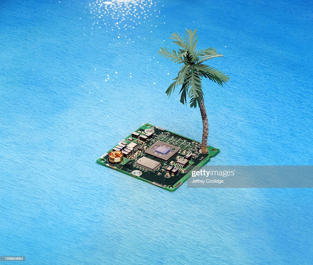 Island Digital Chip With Palm Tree