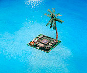 Island Digital Chip With Palm Tree