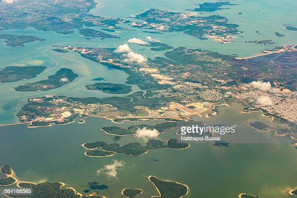 Island from airplane , Flying to Singapore