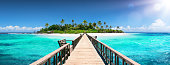 Tropical Destination - Wooden Pier For Coral Island