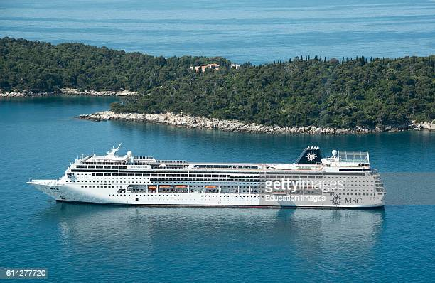 Island Of Lokrum Dubrovnik Croatia The Cruise Ship Msc Sinfonia at Anchor Off Lokrum Island In The Adriatic Sea During Filming Of Game Of Thrones The...