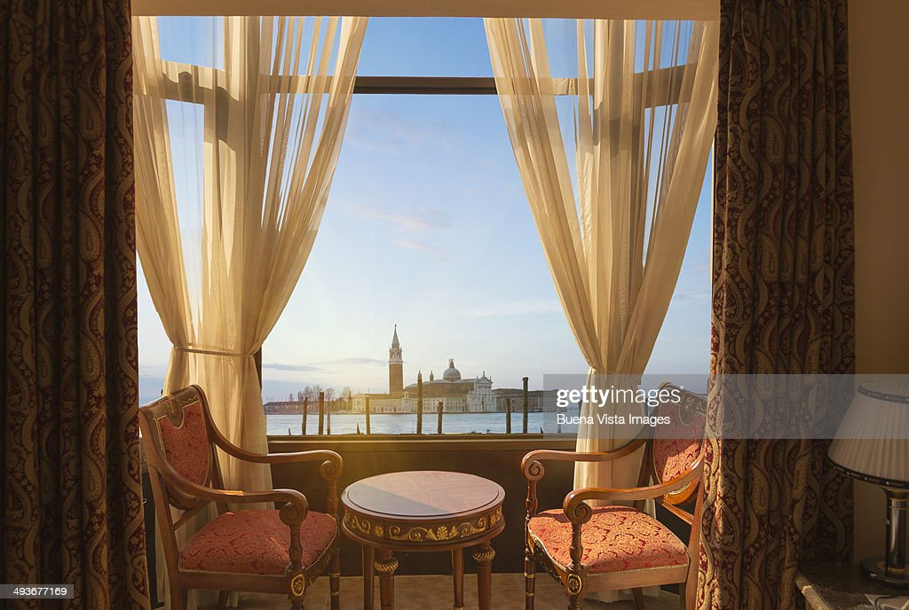 Island of San Giorgio view from hotel room : Stock Photo