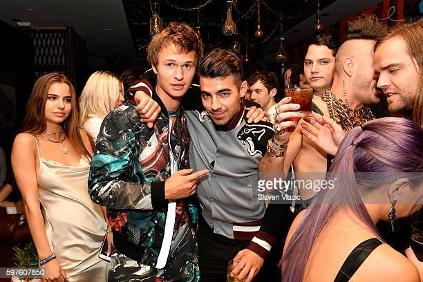Island Records Artist Ansel Elgort and Joe Jonas attend a celebration with Republic Records and Guess after the 2016 MTV Video Music Awards at Vandal...