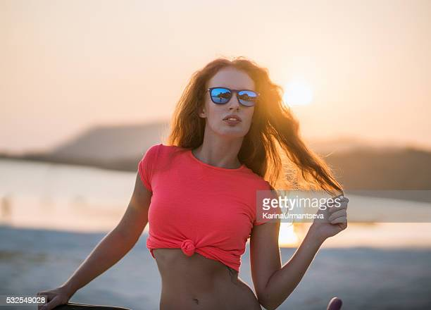 Island young woman on the beach