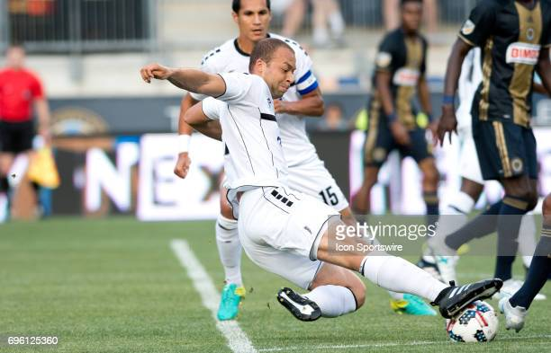 Islanders Defender Travis Brent dives to make a stop in the first half during the US Open Cup Game between the Harrisburg City Islanders and the...