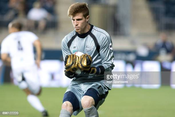 Islanders Keeper Sean Lewis collects the ball in the second half during the US Open Cup Game between the Harrisburg City Islanders and the...