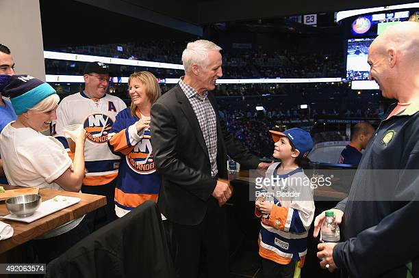 Islanders legend Mike Bossy stops by The Centurion Suite by American Express Friday night during the Islanders Home Opener against the Blackhawks at...