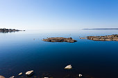 Islands of the Baltic Sea. View from above. Spring morning Calm