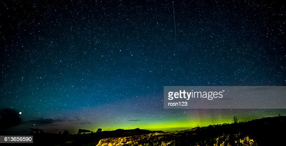 Isle of Skye Northern Lights and stars : Stock Photo