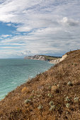Looking along the coastline of the Isle of Wight towards Tennyson Down and Freshwater Bay