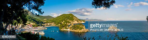 Islet of Virgin Mary & Parga's port panorama 2