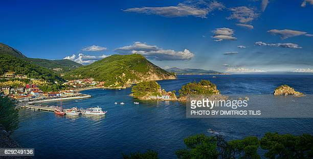 Islet of Virgin Mary & Parga's port panorama