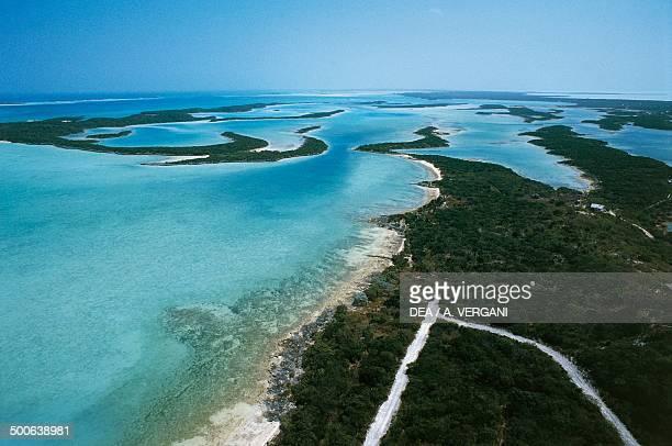Islets along the west coast of Exuma Bahamas
