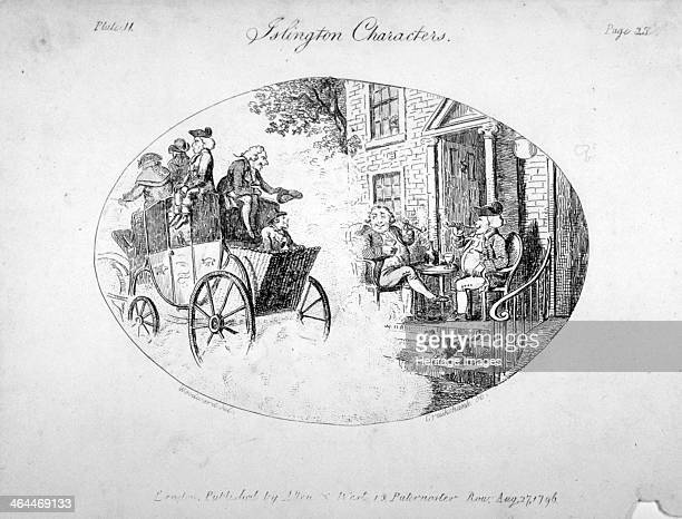 'Islington characters' 1796 A coach laden with passengers passing the front of a house before which two men are sitting at a table smoking pipes and...