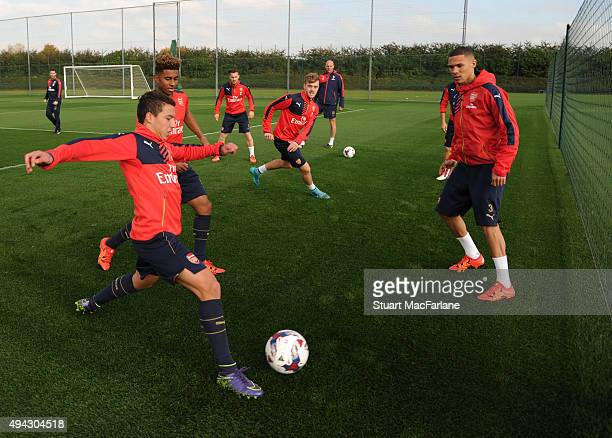 Ismael Bennacer and Kieran Gibbs of Arsenal during a training session at London Colney on October 26 2015 in St Albans England