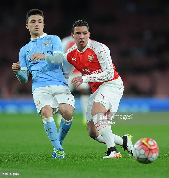 Ismael Bennacer of Arsenal challenges Manuel Garcia Diaz of Manchester City during the match between Arsenal U18 and Manchester City U18 at Emirates...