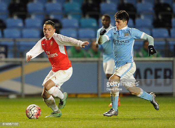 Ismael Bennacer of Arsenal takes on Brahim Diaz of Man City during the match between Manchester City and Arsenal in the FA Youth Cup semi final 1st...