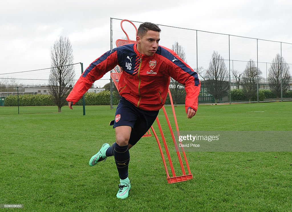 Ismael Bennancer of Arsenal the U19 team during their training session at London Colney on February 8, 2016 in St Albans, England.