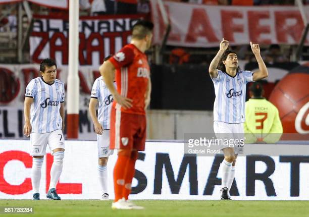 Ismael Blanco of Atletico de Tucuman celebrates after scoring the second goal of his team during a match between River Plate and Atletico de Tucuman...