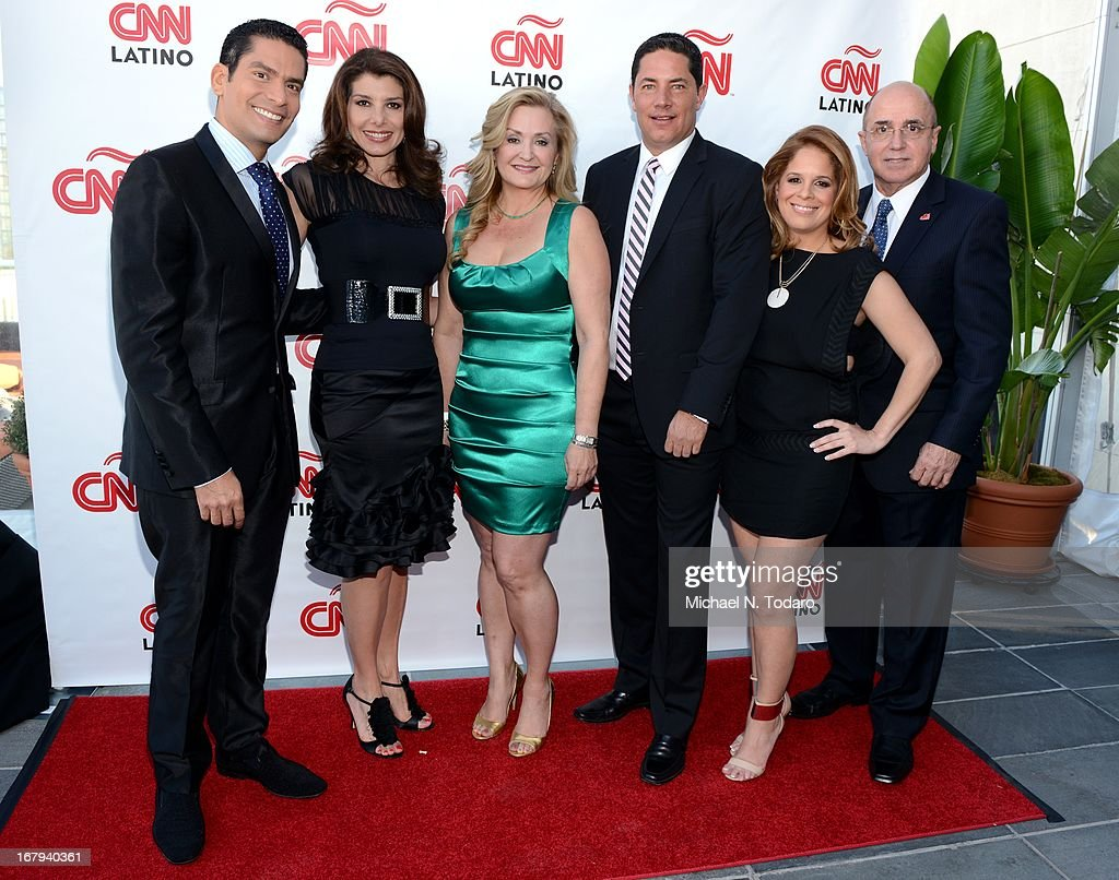 Ismael Cala, Patricia Janiot, Cynthia Hudson, Fernando Del Rincon, Eduardo Saurez and Maria Santana attend the 2013 CNN en Espanol and CNN Latino Upfront at Ink 48 Hotel on May 2, 2013 in New York City.