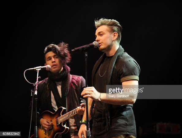 Ismael Cano and Juan Pablo Casillas of LOS 5 perform at Z100 CocaCola All Access Lounge at Z100's Jingle Ball 2016 Presented by Capital One preshow...