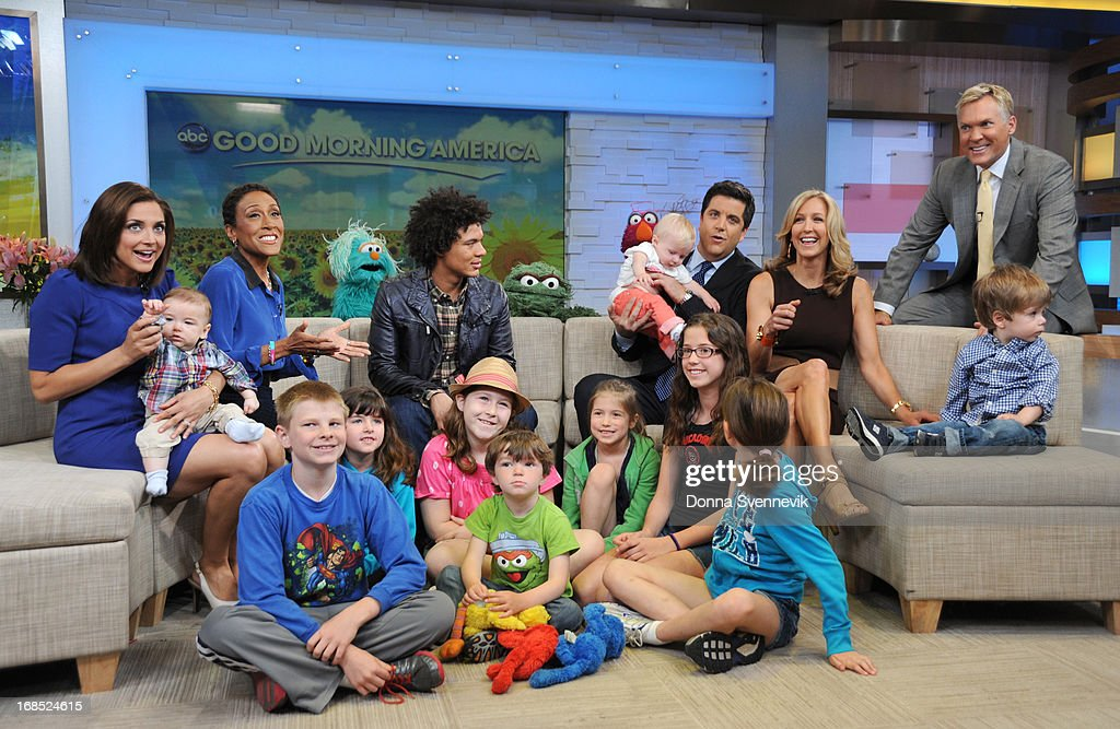 AMERICA - Ismael Cruz Cordova ('Mando') of Sesame Street visits 'Good Morning America,' 5/10/13, airing on the ABC Television Network. (Photo by Donna Svennevik/ABC via Getty Images) PAULA FARIS, ROBIN ROBERTS, ISMAEL CRUZ CORDOVA, JOSH ELLIOTT, LARA SPENCER, SAM CHAMPION