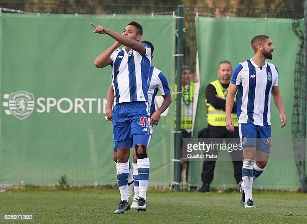 Ismael Diaz of FC Porto B celebrates after scoring a goal during the Segunda Liga match between Sporting CP B and FC Porto B at CGD Stadium Aurelio...