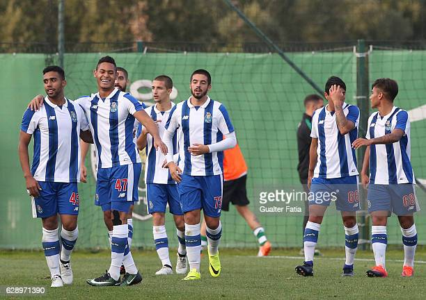 Ismael Diaz of FC Porto B celebrates with teammates after scoring a goal during the Segunda Liga match between Sporting CP B and FC Porto B at CGD...