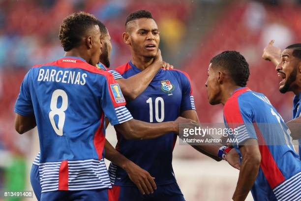 Ismael Diaz of Panama celebrates after scoring a goal to make it 11 during the 2017 CONCACAF Gold Cup Group C match between Curacao and Jamaica at...