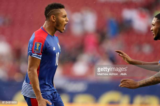 Ismael Diaz of Panama celebrates after scoring a goal to make it 11 during the 2017 CONCACAF Gold Cup Group B match between Panama and Nicaragua at...