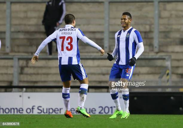Ismael Diaz of Porto celebrates with Diogo Verdasca after scoring the second goal during the Premier League International Cup Quarter Final match...
