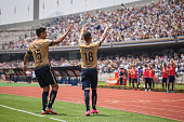 Ismael Sosa of Pumas celebrates after scoring the first goal of his team during a 6th round match between Pumas UNAM and Dorados de Sinaloa as part...