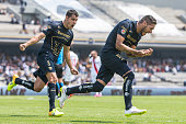 Ismael Sosa of Pumas celebrates after scoring the second goal of his team during a match between Pumas UNAM and Morelia as part of 9th round Clausura...