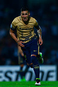Ismael Sosa of Pumas celebrates after scoring the second goal of his team during the match between Pumas UNAM and Deportivo Tachira as part of the...