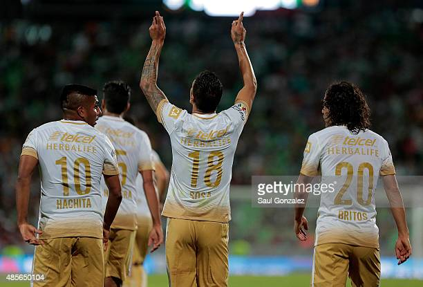 Ismael Sosa of Pumas celebrates after scoring the winning goal of his team during a 7th round match between Santos Laguna and Pumas UNAM as part of...