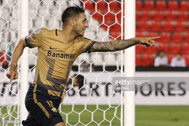 Ismael Sosa of Pumas UNAM celebrates after scoring the second goal of his team during a match between Olimpia and Pumas UNAM as part of Copa...