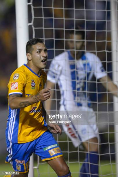 Ismael Sosa of Tigres celebrates after scoring his team's first goal during the Final first leg match between Tigres UANL and Pachuca as part of the...