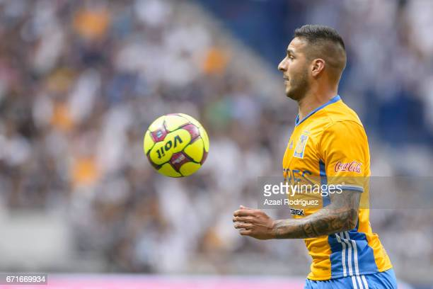 Ismael Sosa of Tigres controls the ball during the 15th round match between Monterrey and Tigres UANL as part of the Torneo Clausura 2017 Liga MX at...