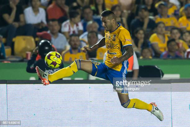 Ismael Sosa of Tigres controls the ball during the match between Tigres and Chivas as part of the Clausura 2017 Liga MX at Universitario Stadium on...