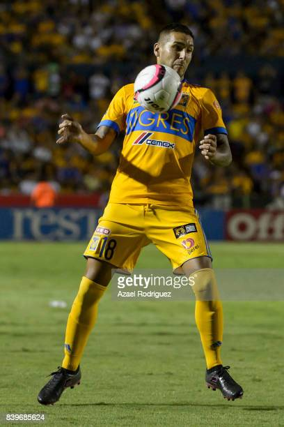 Ismael Sosa of Tigres controls the ball during the seventh round match between Tigres UANL and Lobos BUAP as part of the Torneo Apertura 2017 Liga MX...